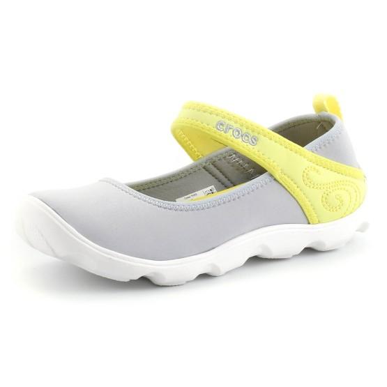 נעלי Crocs לנוער Crocs Duet Busy Day Mary Jane GS - אפור בהיר