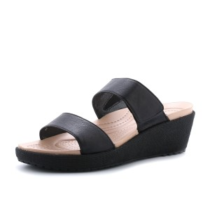 נעלי Crocs לנשים Crocs A-leigh 2-strap Mini Wedge - שחור