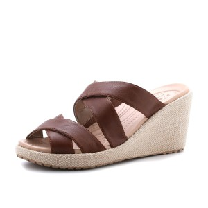נעלי Crocs לנשים Crocs A-leigh Crisscross Wedge - חום