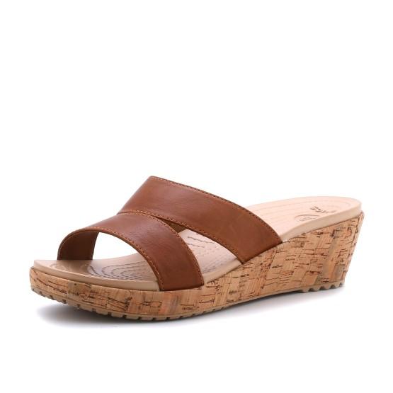 מוצרי Crocs לנשים Crocs A-leigh Leather Mini Wedge - חום
