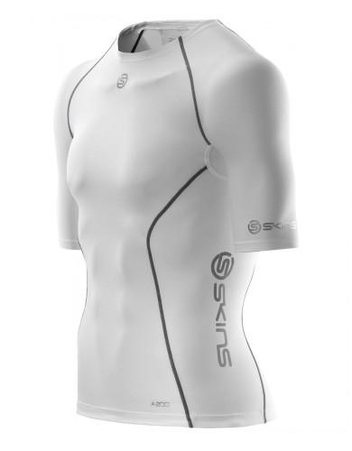 מוצרי Skins לגברים Skins A200 Short Sleeve Top - לבן