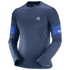 מוצרי סלומון לגברים Salomon Agile LS - כחול כהה
