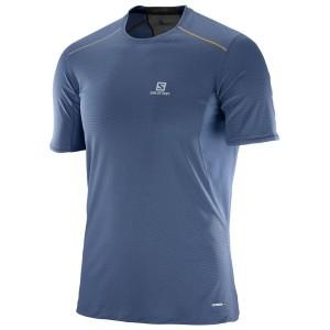 מוצרי סלומון לגברים Salomon Trail Runner SS - כחול כהה