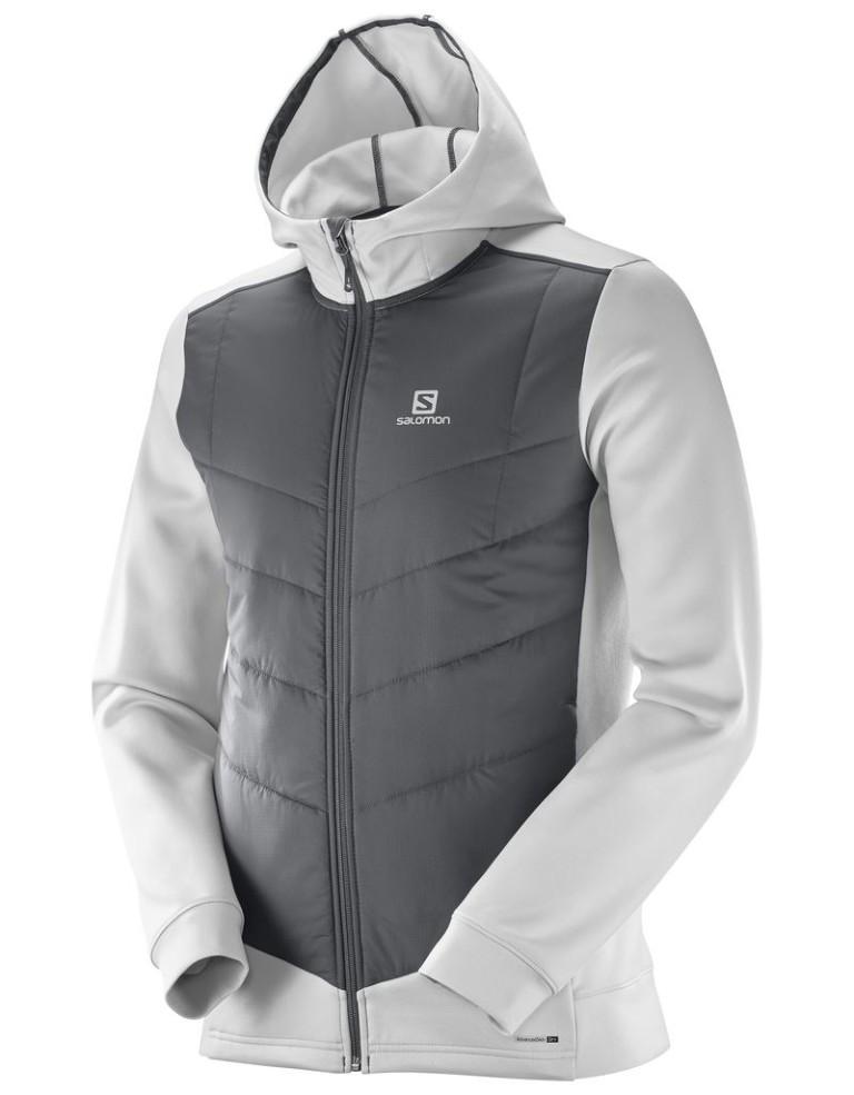 מוצרי סלומון לגברים Salomon Pulse Hybrid Hoodie - לבן/אפור