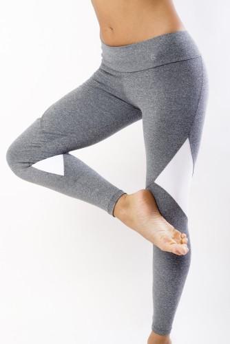 מוצרי ריו גים לנשים Rio Gym  Elegance Legging - אפור/לבן