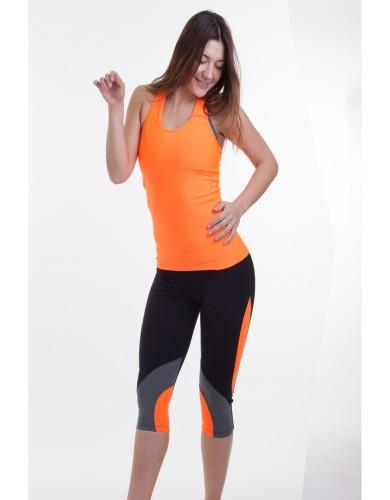 מוצרי ריו גים לנשים Rio Gym Joanne Cropped Capri - שחור/כתום
