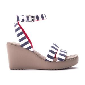 מוצרי Crocs לנשים Crocs Leigh Graphic Wedge - כחול/לבן
