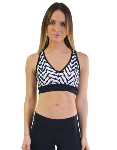 מוצרי ריו גים לנשים Rio Gym Sports Bra - שחור/לבן